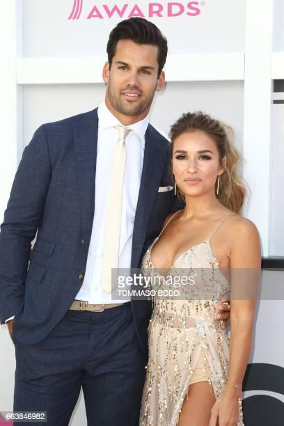 NFL player Eric Decker and singer Jessie James Decker arrive for the 52nd Academy of Country Music Awards on April 2 at the TMobile Arena in Las...