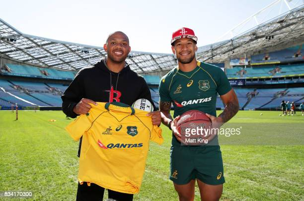 NBA player Eric Gordon of the Houston Rockets meets Israel Folau of the Wallabies during the Australian Wallabies Captain's Run at ANZ Stadium on...