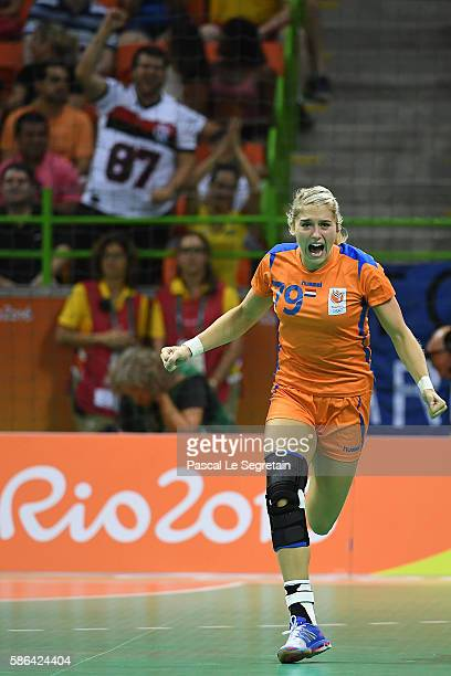 Player Estavana Polman of the Netherlands celebrates her goal during the women's preliminaries Group B handball match Netherlands vs France Day 1 of...