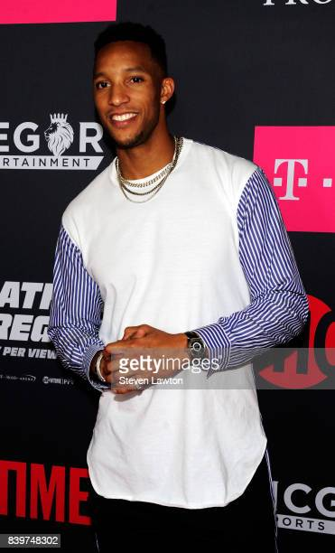 NBA player Evan Turner attends the VIP party before the boxing match between boxer Floyd Mayweather Jr and Conor McGregor at TMobile Arena on August...