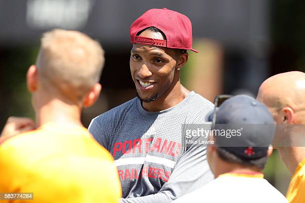 NBA player Evan Turner of the Portland Trail Blazers speaks to members of AS Roma during a friendly match against the Boston Bolts at Ohiri Field on...