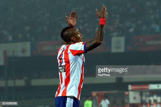 ADK Player Fikru Tefera Lemessa reacts after a decision goes against him during the Match 31 Atl��tico de Kolkata vs Chennaiyin FC on November 142014...