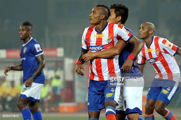 ADK Player Fikru Tefera Lemessa try to goal during the Match 31 Atl��tico de Kolkata vs Chennaiyin FC on November 142014 in Kolkata