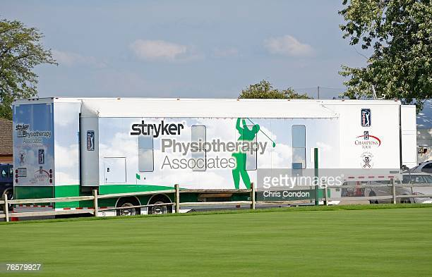 Player fitness trailers are parked near the clubhouse during the second round of the BMW Championship the third event of the new PGA TOUR Playoffs...