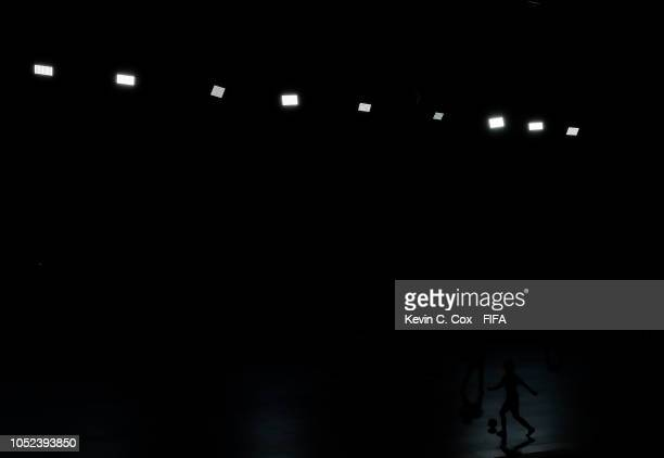 A player for Bolivia controls the ball against Spain in the Women's Futsal 3rd Place match between Bolivia and Spain during the Buenos Aires Youth...
