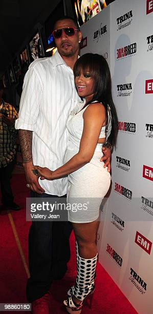 NBA player for Denver Nuggets Keyon Martin and rapper Trina attend Trina album release Party at club MiVi on May 3 2010 in Hallandale Florida