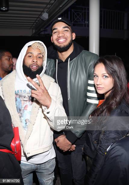 NFL player for New York Giants Odell Beckham Jr NBA player for Minnesota Timberwolves KarlAnthony Towns and guest at Rolling Stone Live Minneapolis...