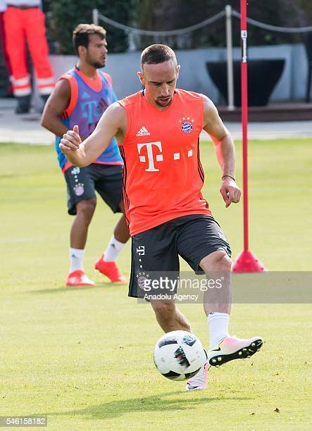 Player Franck Ribery attends the first training session of new head coach Carlo Ancelotti at FC Bayern Munichhen at Saebener Strasse training ground...