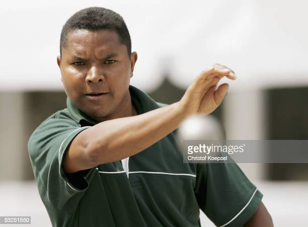 A player from Madagascar throws a boule during the Petanque discipline of the World Games 2005 on July 18 2005 in Duisburg Germany