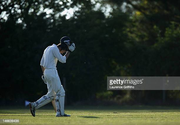 A player from Sproxton Cricket club is bowled out during a village cricket match on July 12 2005 in Sproxton England