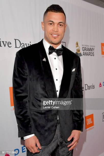 MLB player Giancarlo Stanton attends the Clive Davis and Recording Academy PreGRAMMY Gala and GRAMMY Salute to Industry Icons Honoring JayZ on...