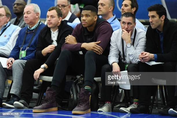 NBA player Giannis Antetokounmpo watches action during Day One of the NBA Draft Combine at Quest MultiSport Complex on May 17 2018 in Chicago...