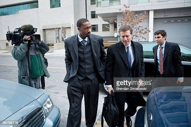 NBA player Gilbert Arenas and his layer Kenneth L Wainstein arrive at District of Columbia Court January 15 2010 in Washington DC The Washington...
