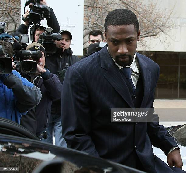 NBA player Gilbert Arenas of the Washington Wizards leaves the District of Columbia Court after being sentenced March 26 2010 in Washington DC The...
