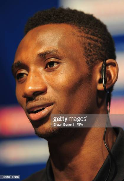 Player Harrison Afful talks to the media during an Esperance Sportive de Tunis Press Conference at the Westin Nagoya Castle Hotel on December 6 2011...