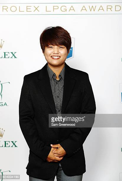 LPGA player Haru Nomura of Japan poses on the red carpet as she arrives to the LPGA Rolex Players Awards at the RitzCarlton Naples on November 17...