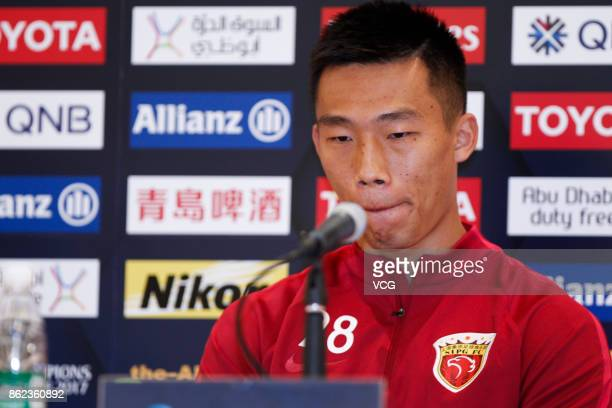 Player He Guan of Shanghai SIPG attends a press conference ahead of the AFC Champions League semi final second leg match between Urawa Red Diamonds...