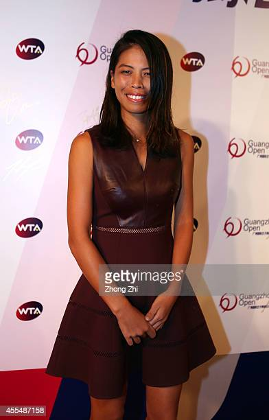 Player Hsieh Suwei of Chinese Taipei attends the WTA Guangzhou Welcome Party at Hilton Hotel during day one of the 2014 WTA Guangzhou Open on...