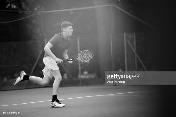 Player in action during qualifying for the 2020 Fred Perry Championships at Nottingham Tennis Centre on September 05, 2020 in Nottingham, England.