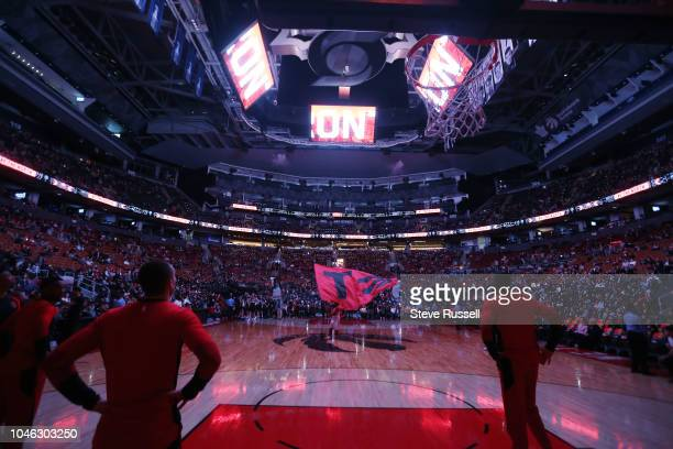 TORONTO ON OCTOBER 5 Player introductions as the Toronto Raptors play Melbourne United in preseason basketball at Scotiabank Arena in Toronto October...