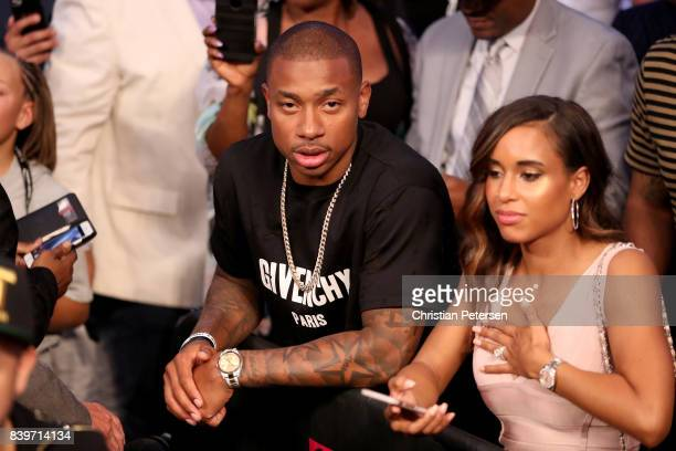 NBA player Isaiah Thomas attends the super welterweight boxing match between Floyd Mayweather Jr and Conor McGregor on August 26 2017 at TMobile...