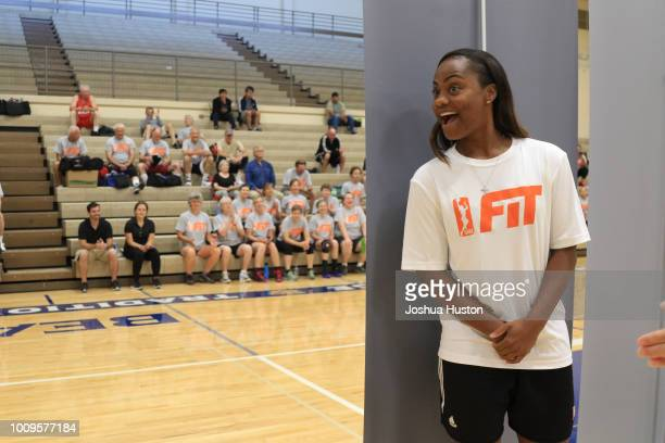 WNBA Player Ivory Latta gets ready to surprise participants of the WNBA Fit Clinic on JULY 21 2018 Olympia High School Olympia Washington NOTE TO...
