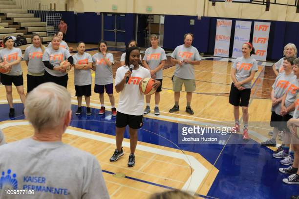 WNBA Player Ivory Latta speaks to participants of the WNBA Fit Clinic on JULY 21 2018 Olympia High School Olympia Washington NOTE TO USER User...
