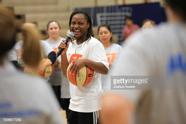 WNBA player Ivory Latta speaks to the participants of WNBA Fit Clinic on JULY 21 2018 at Olympia High School Olympia Washington NOTE TO USER User...