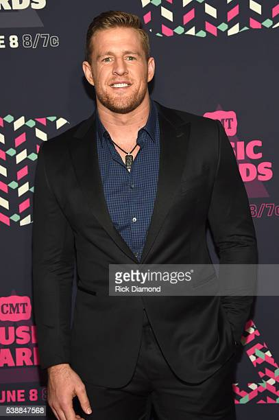 Player J J Watt attends the 2016 CMT Music awards at the Bridgestone Arena on June 8 2016 in Nashville Tennessee