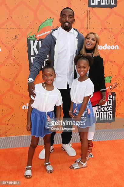 NBA player J R Smith and family arrive at the Nickelodeon Kids' Choice Sports Awards 2016 at the UCLA's Pauley Pavilion on July 14 2016 in Westwood...