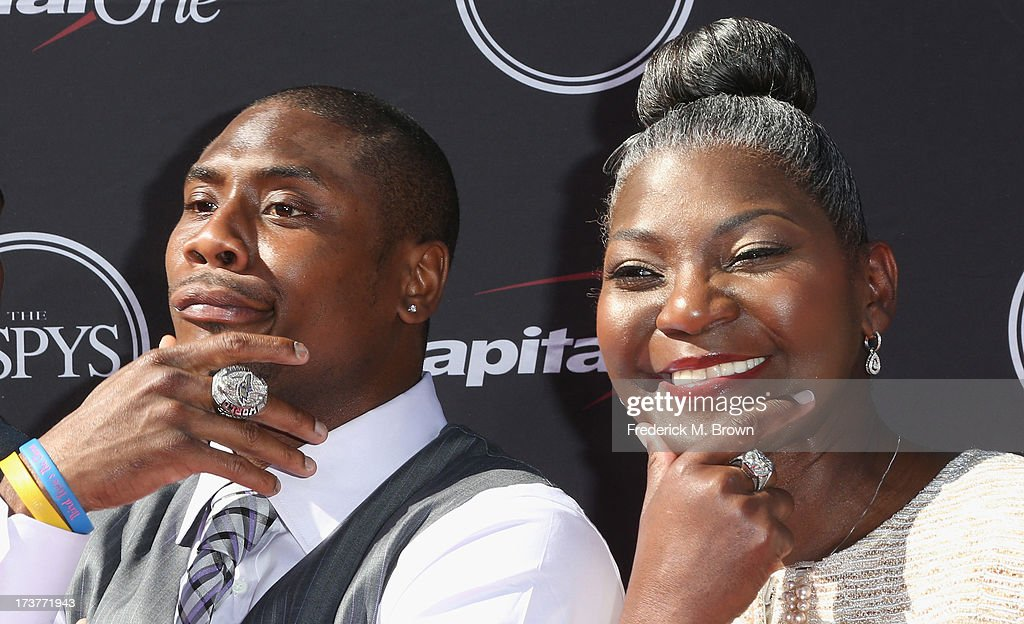 NFL player Jacoby Jones and mother Emily London Jones attend The 2013 ESPY Awards at Nokia Theatre L.A. Live on July 17, 2013 in Los Angeles, California.