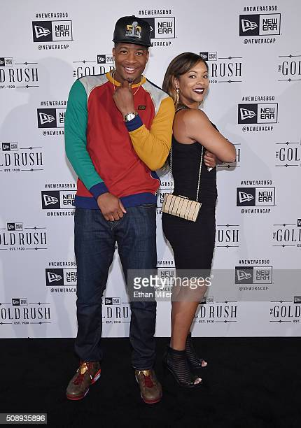 NFL player Jameis Winston and Breion Allen attend the New Era Super Bowl party at The Battery on February 6 2016 in San Francisco California