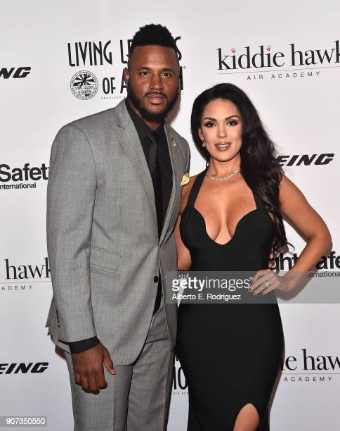 NFL player James Anderson and model Carissa Rosario attend the 15th Annual Living Legends of Aviation Awards at the Beverly Hilton Hotel on January...