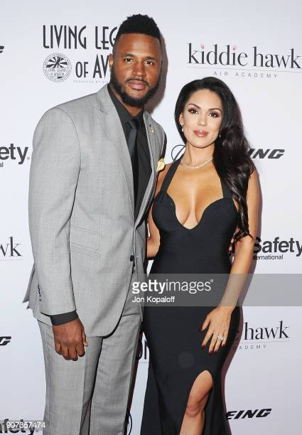 Player James Anderson and model Carissa Rosario attend the 15th Annual Living Legends Of Aviation Awards on January 19, 2018 in Beverly Hills,...