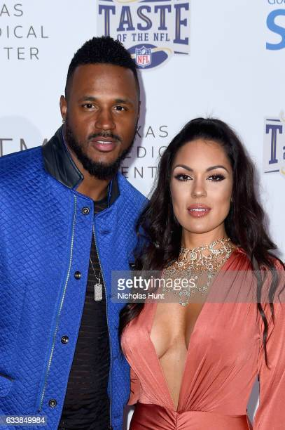 NFL player James Anderson and model Carissa Rosario attend the Taste Of The NFL 'Party With A Purpose' at Houston University on February 4 2017 in...