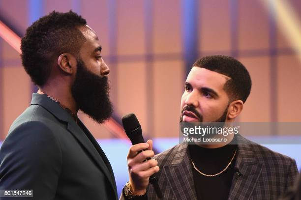 NBA player James Harden and Drake speak in the audience during the 2017 NBA Awards Live On TNT on June 26 2017 in New York City 27111_001