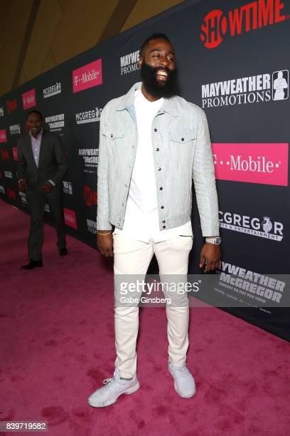 NBA player James Harden arrives on TMobile's magenta carpet duirng the Showtime WME IME and Mayweather Promotions VIP PreFight Party for Mayweather...