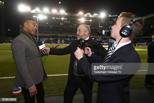 NFL player Jason Bell is interviewed prior to kick off during the Premier League match between Tottenham Hotspur and Hull City at White Hart Lane on...