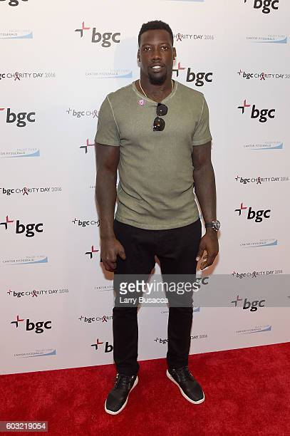 NFL player Jason PierrePaul attends Annual Charity Day hosted by Cantor Fitzgerald BGC and GFI at BGC Partners INC on September 12 2016 in New York...