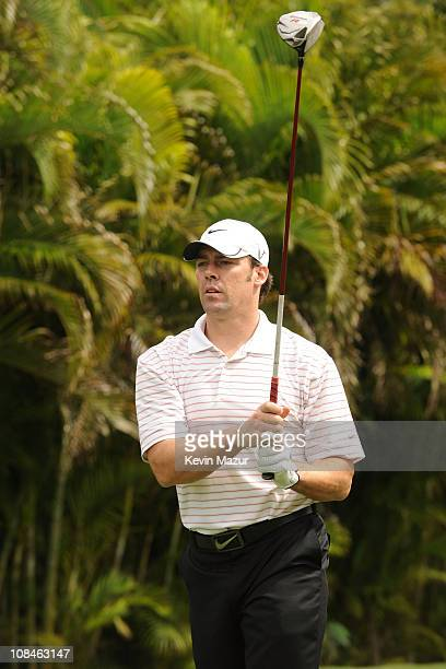 NFL Player Jason Sehorn attends the Super Skins Celebrity Golf Classic Tee Off at The Biltmore Hotel Golf Club on February 5 2010 in Coral Gables...
