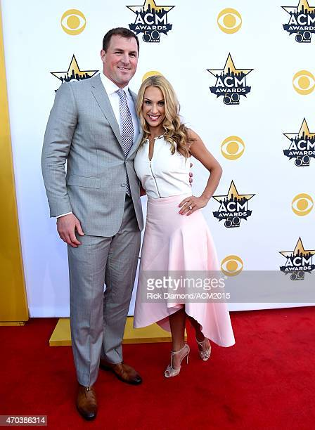 NFL player Jason Witten and Michelle Witten attend the 50th Academy of Country Music Awards at ATT Stadium on April 19 2015 in Arlington Texas