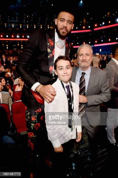 NBA player JaVale McGee and comedian Jon Stewart attend The 2018 ESPYS at Microsoft Theater on July 18 2018 in Los Angeles California