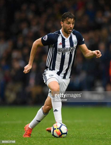 WBA player Jay Rodriguez in action during the Premier League match between West Bromwich Albion and Watford at The Hawthorns on September 30 2017 in...