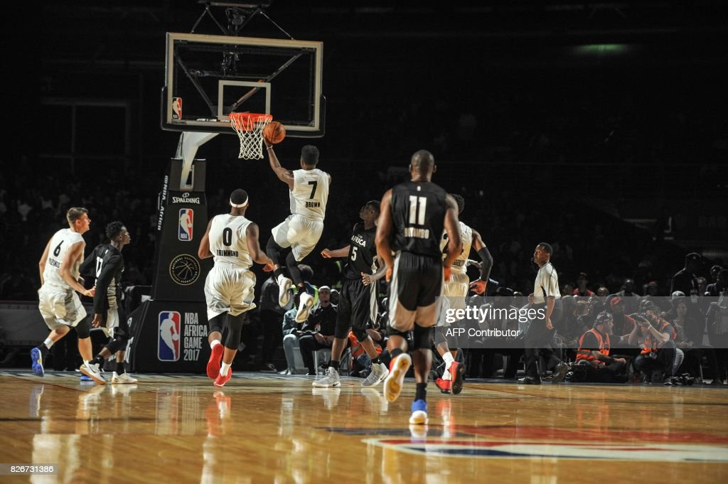 NBA player Jaylen Brown from the Boston Celtics jumps during the NBA Africa Game 2017 basketball match between Team Africa and Team World on August 5, 2017 in Johannesburg. /