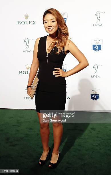 LPGA player Jenny Shin of Korea poses on the red carpet as she arrives to the LPGA Rolex Players Awards at the RitzCarlton Naples on November 17 2016...