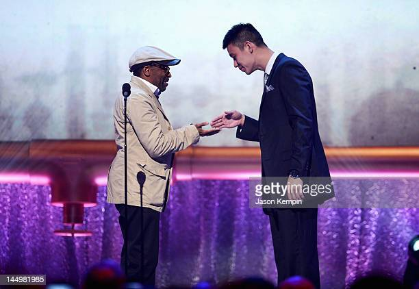 Player Jeremy Lin and Filmmaker Spike Lee onstage at the 16th Annual Webby Awards on May 21, 2012 in New York City.