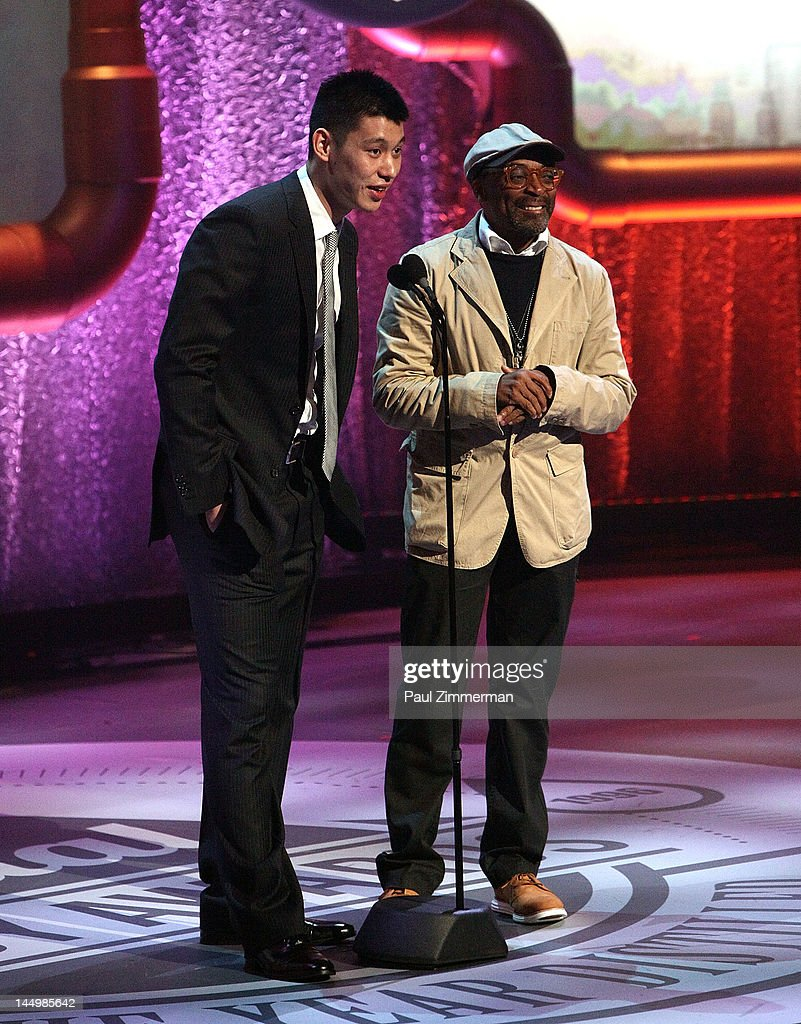 NBA player Jeremy Lin and Filmmaker Spike Lee onstage at the 16th Annual Webby Awards at Hammerstein Ballroom on May 21, 2012 in New York City.