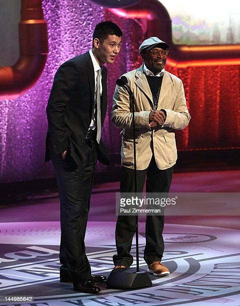 Player Jeremy Lin and Filmmaker Spike Lee onstage at the 16th Annual Webby Awards at Hammerstein Ballroom on May 21, 2012 in New York City.