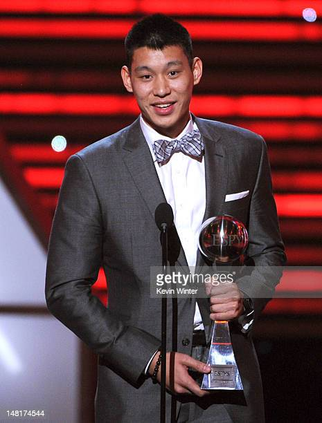 NBA player Jeremy Lin of the New York Knicks accepts the Best Breakthrough Athlete award onstage during the 2012 ESPY Awards at Nokia Theatre LA Live...