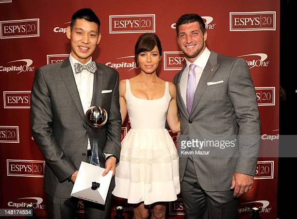 NBA player Jeremy Lin of the New York Knicks actrress Jessica Biel and NFL player Tim Tebow of the New York Jets attend the 2012 ESPY Awards at Nokia...